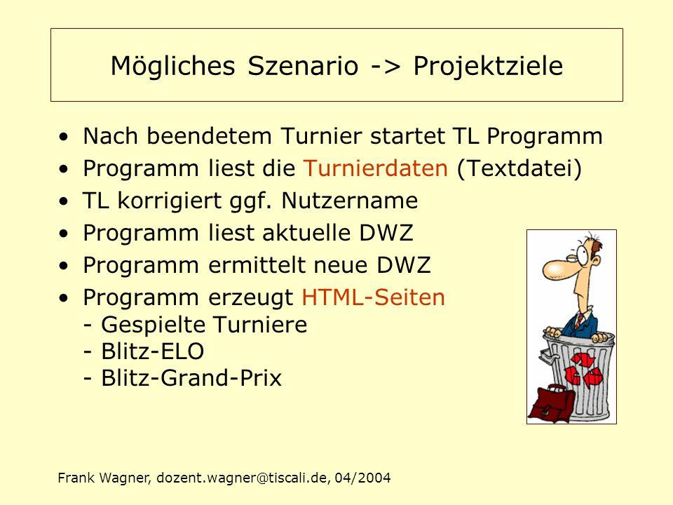 Frank Wagner, dozent.wagner@tiscali.de, 04/2004 Mögliches Szenario -> Projektziele Nach beendetem Turnier startet TL Programm Programm liest die Turni