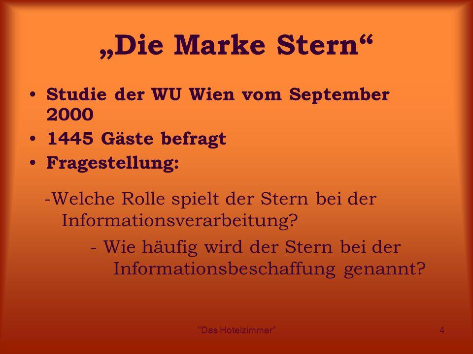 """Das Hotelzimmer 4 """"Die Marke Stern Studie der WU Wien vom September 2000 1445 Gäste befragt Fragestellung: - Wie häufig wird der Stern bei der Informationsbeschaffung genannt."""