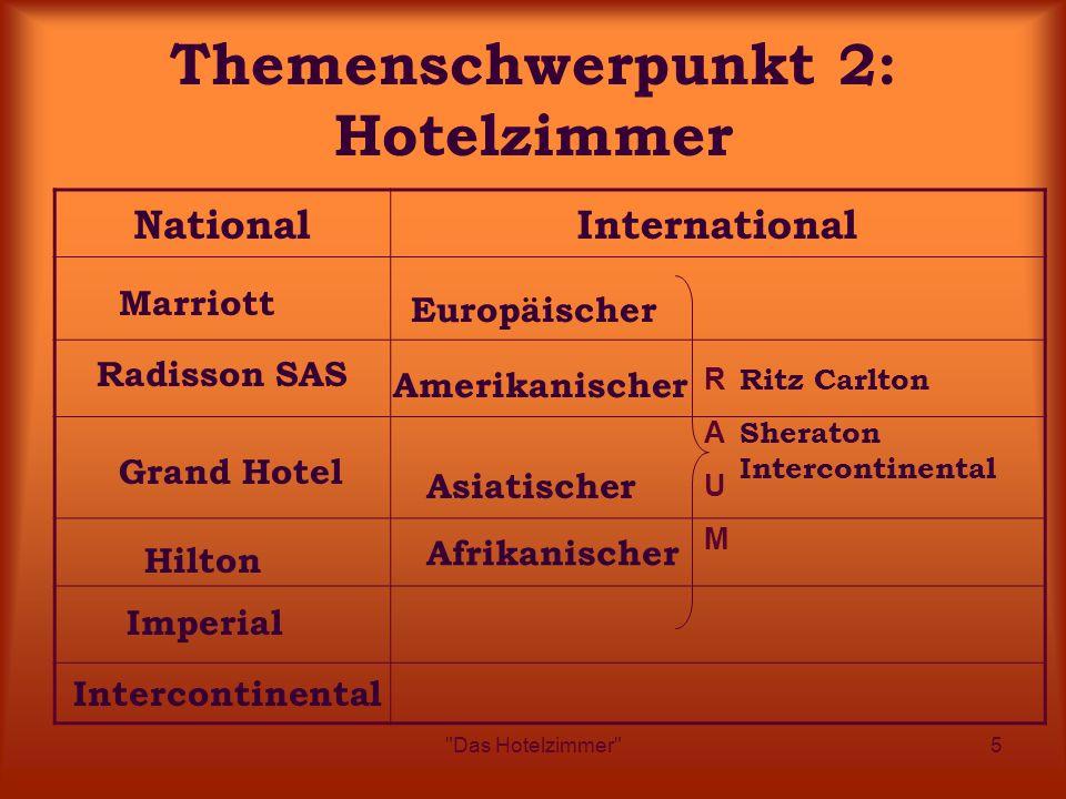 Das Hotelzimmer 5 Themenschwerpunkt 2: Hotelzimmer NationalInternational Marriott Grand Hotel Hilton Imperial Intercontinental Europäischer Afrikanischer Amerikanischer Asiatischer Ritz Carlton Sheraton Intercontinental RAUMRAUM Radisson SAS