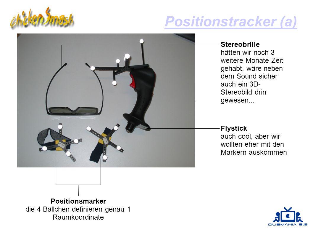 Positionstracker (a) Positionsmarker die 4 Bällchen definieren genau 1 Raumkoordinate Flystick auch cool, aber wir wollten eher mit den Markern auskommen Stereobrille hätten wir noch 3 weitere Monate Zeit gehabt, wäre neben dem Sound sicher auch ein 3D- Stereobild drin gewesen...