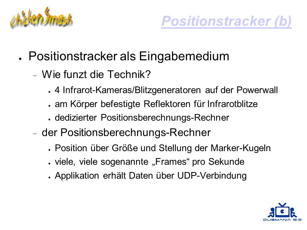 Positionstracker (b) ● Positionstracker als Eingabemedium  Wie funzt die Technik? ● 4 Infrarot-Kameras/Blitzgeneratoren auf der Powerwall ● am Körper