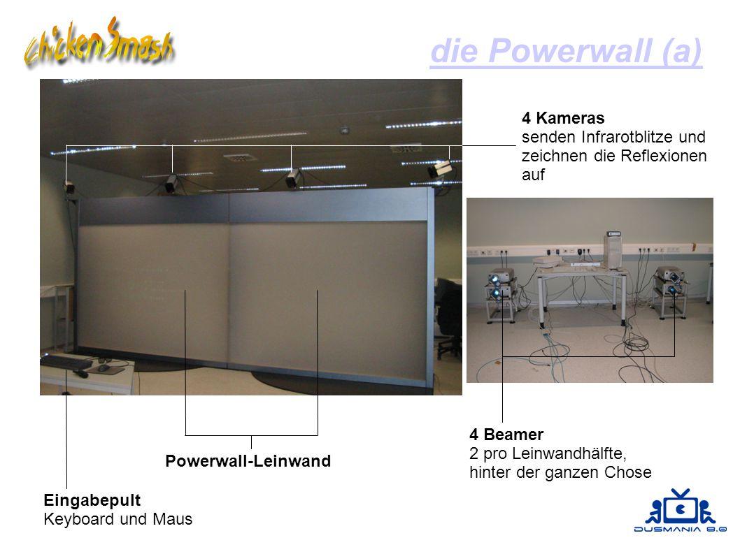 die Powerwall (a) 4 Kameras senden Infrarotblitze und zeichnen die Reflexionen auf Eingabepult Keyboard und Maus Powerwall-Leinwand 4 Beamer 2 pro Leinwandhälfte, hinter der ganzen Chose