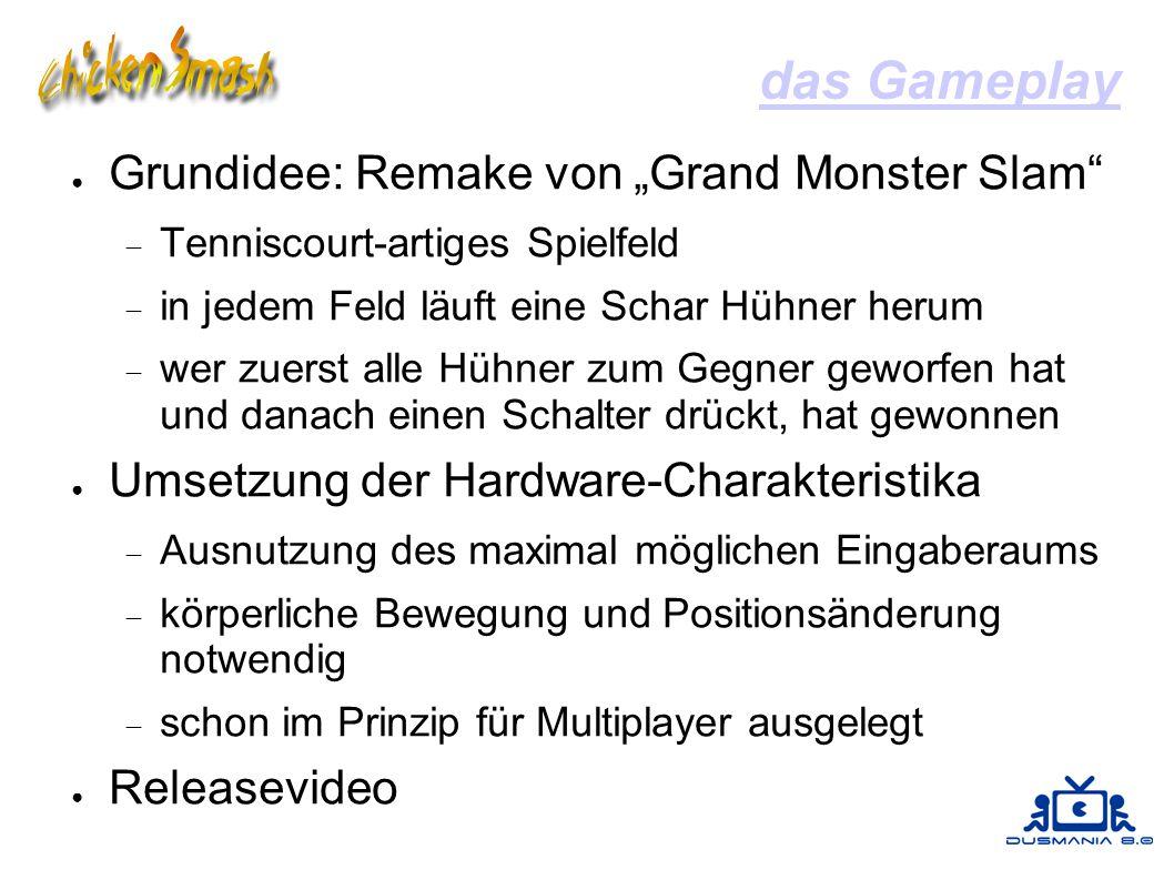 """das Gameplay ● Grundidee: Remake von """"Grand Monster Slam""""  Tenniscourt-artiges Spielfeld  in jedem Feld läuft eine Schar Hühner herum  wer zuerst a"""