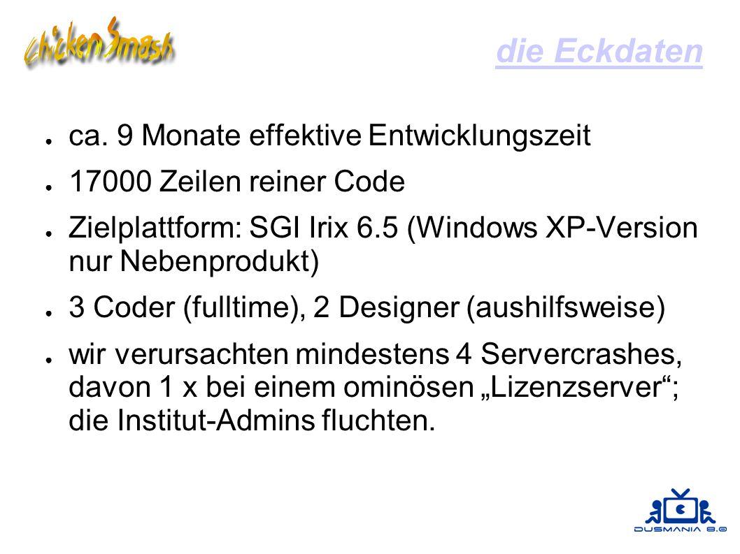 die Eckdaten ● ca. 9 Monate effektive Entwicklungszeit ● 17000 Zeilen reiner Code ● Zielplattform: SGI Irix 6.5 (Windows XP-Version nur Nebenprodukt)