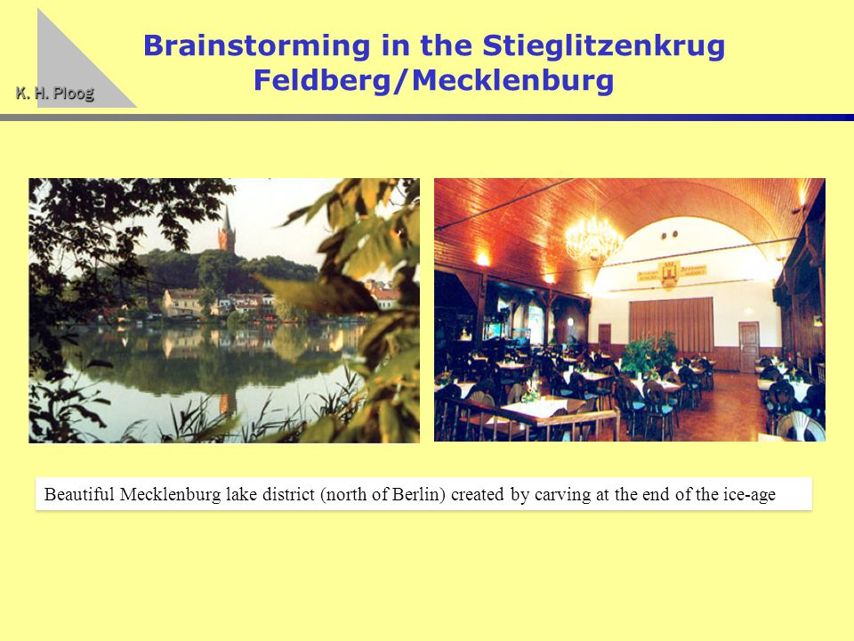 K. H. Ploog Brainstorming in the Stieglitzenkrug Feldberg/Mecklenburg Beautiful Mecklenburg lake district (north of Berlin) created by carving at the