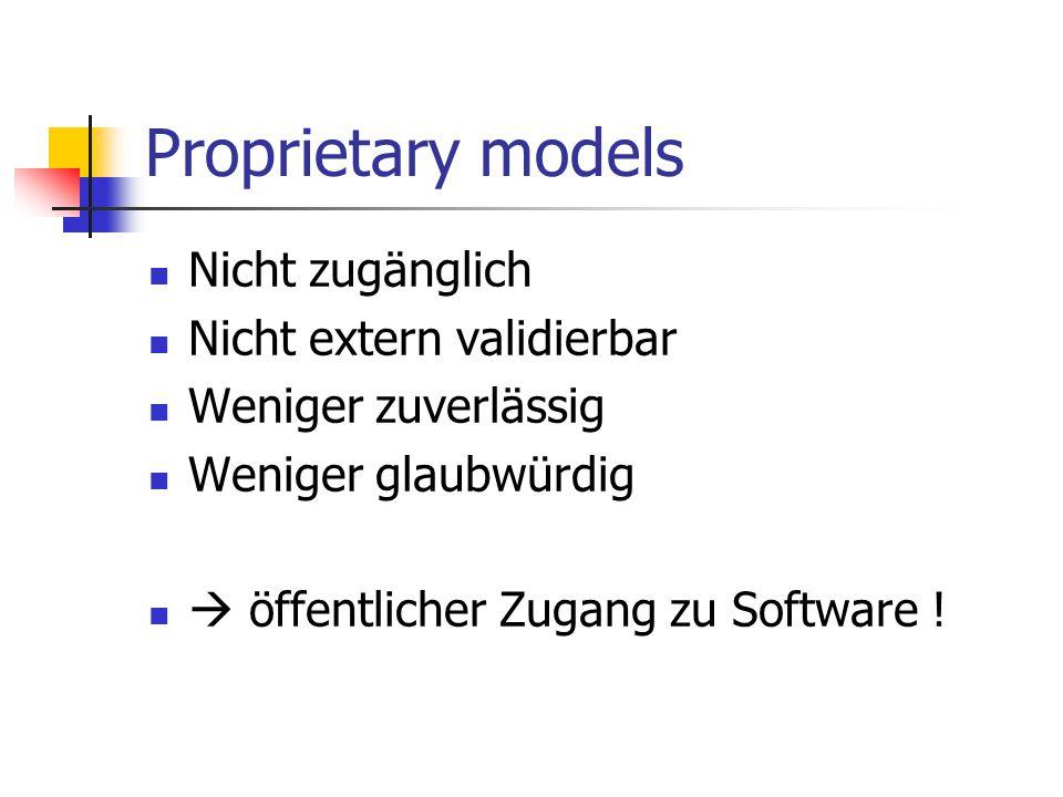 Proprietary models Nicht zugänglich Nicht extern validierbar Weniger zuverlässig Weniger glaubwürdig  öffentlicher Zugang zu Software !