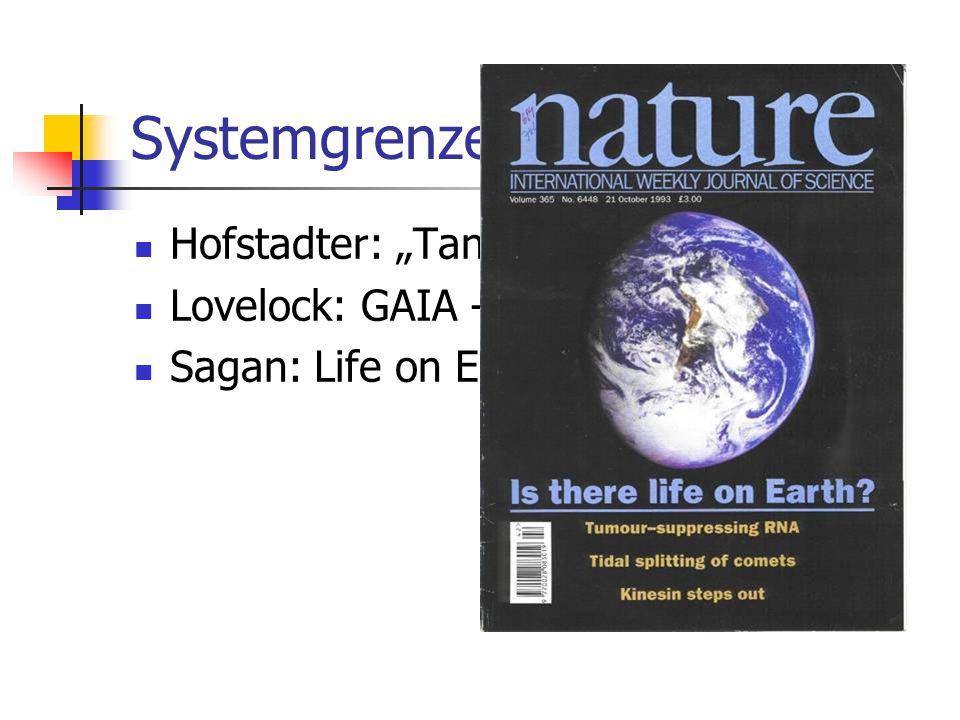 "Systemgrenzen: Individuum Hofstadter: ""Tante Ameisenkolonie"" Lovelock: GAIA - Hypothese Sagan: Life on Earth"