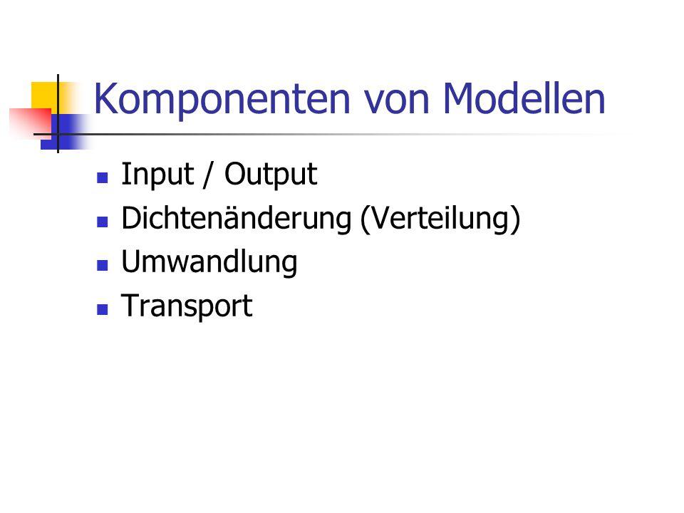 Komponenten von Modellen Input / Output Dichtenänderung (Verteilung) Umwandlung Transport