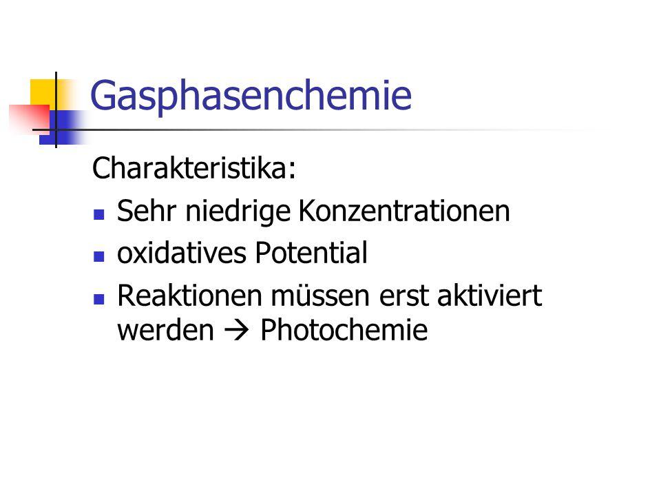 Gasphasenchemie Charakteristika: Sehr niedrige Konzentrationen oxidatives Potential Reaktionen müssen erst aktiviert werden  Photochemie