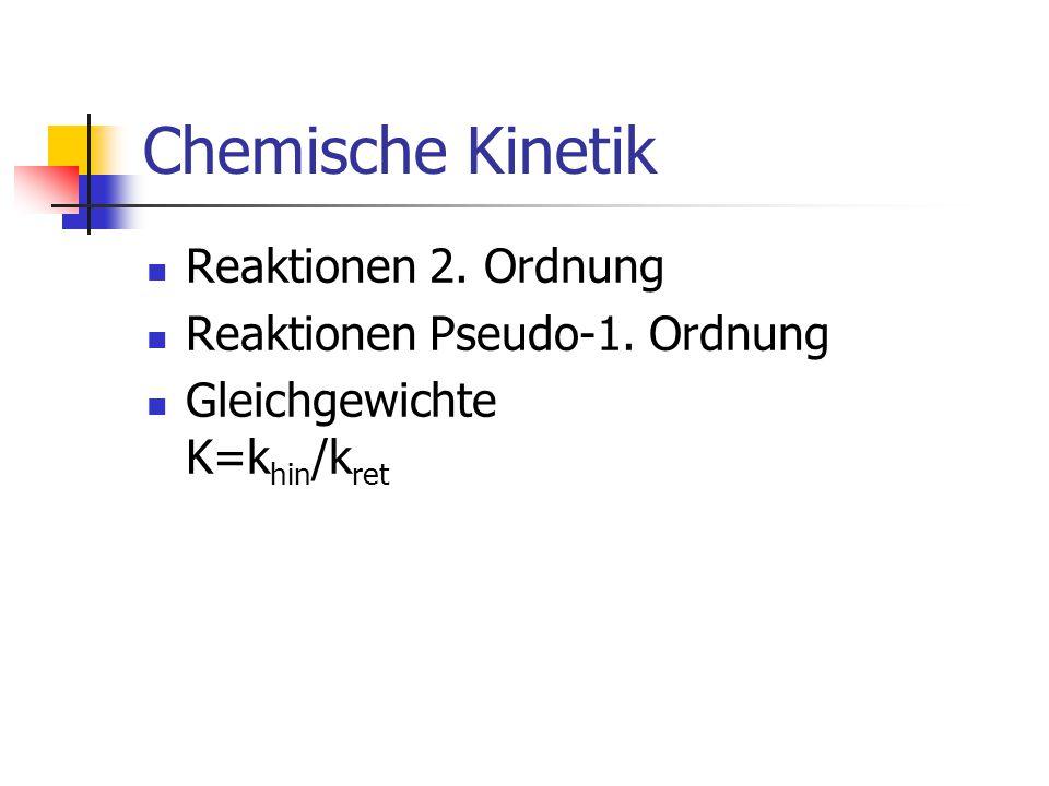 Chemische Kinetik Reaktionen 2. Ordnung Reaktionen Pseudo-1. Ordnung Gleichgewichte K=k hin /k ret