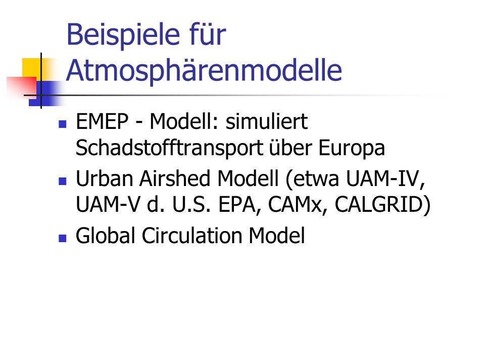 Beispiele für Atmosphärenmodelle EMEP - Modell: simuliert Schadstofftransport über Europa Urban Airshed Modell (etwa UAM-IV, UAM-V d. U.S. EPA, CAMx,