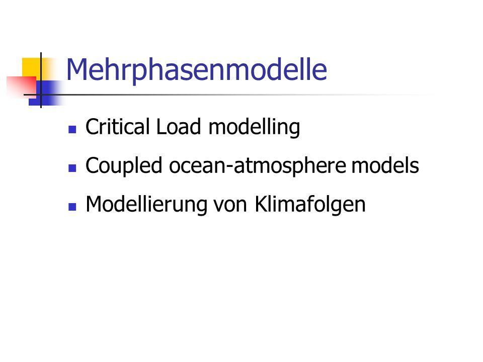 Mehrphasenmodelle Critical Load modelling Coupled ocean-atmosphere models Modellierung von Klimafolgen
