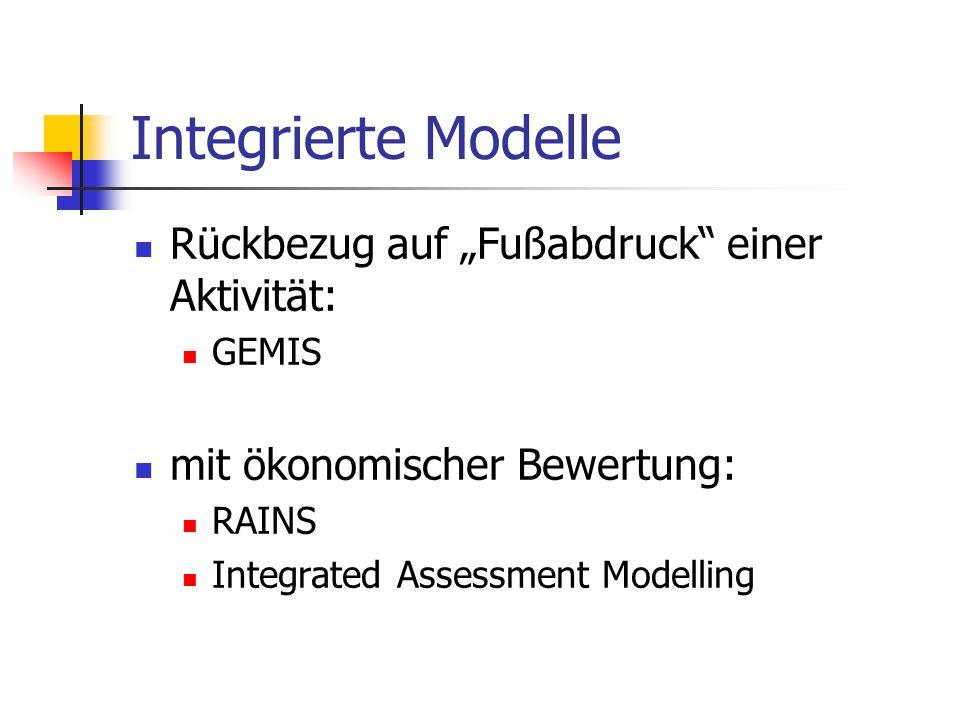 """Integrierte Modelle Rückbezug auf """"Fußabdruck"""" einer Aktivität: GEMIS mit ökonomischer Bewertung: RAINS Integrated Assessment Modelling"""
