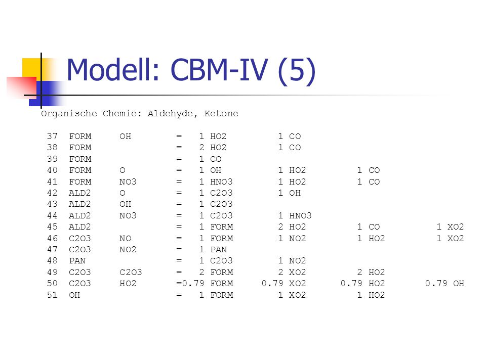 Modell: CBM-IV (5) Organische Chemie: Aldehyde, Ketone 37 FORM OH = 1 HO2 1 CO 38 FORM = 2 HO2 1 CO 39 FORM = 1 CO 40 FORM O = 1 OH 1 HO2 1 CO 41 FORM