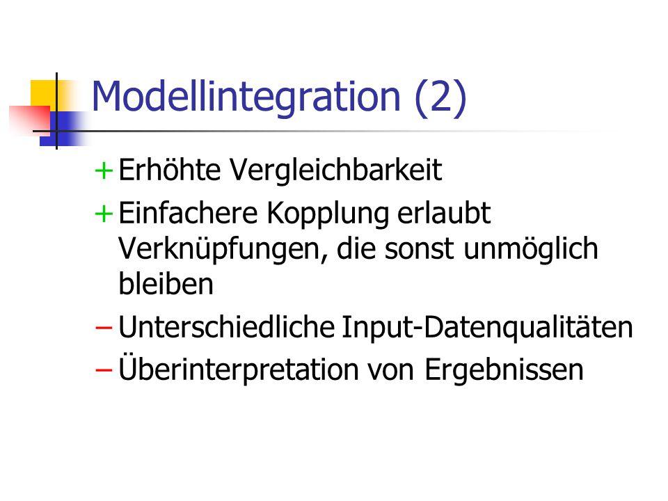 Modellintegration (2) +Erhöhte Vergleichbarkeit +Einfachere Kopplung erlaubt Verknüpfungen, die sonst unmöglich bleiben −Unterschiedliche Input-Datenqualitäten −Überinterpretation von Ergebnissen