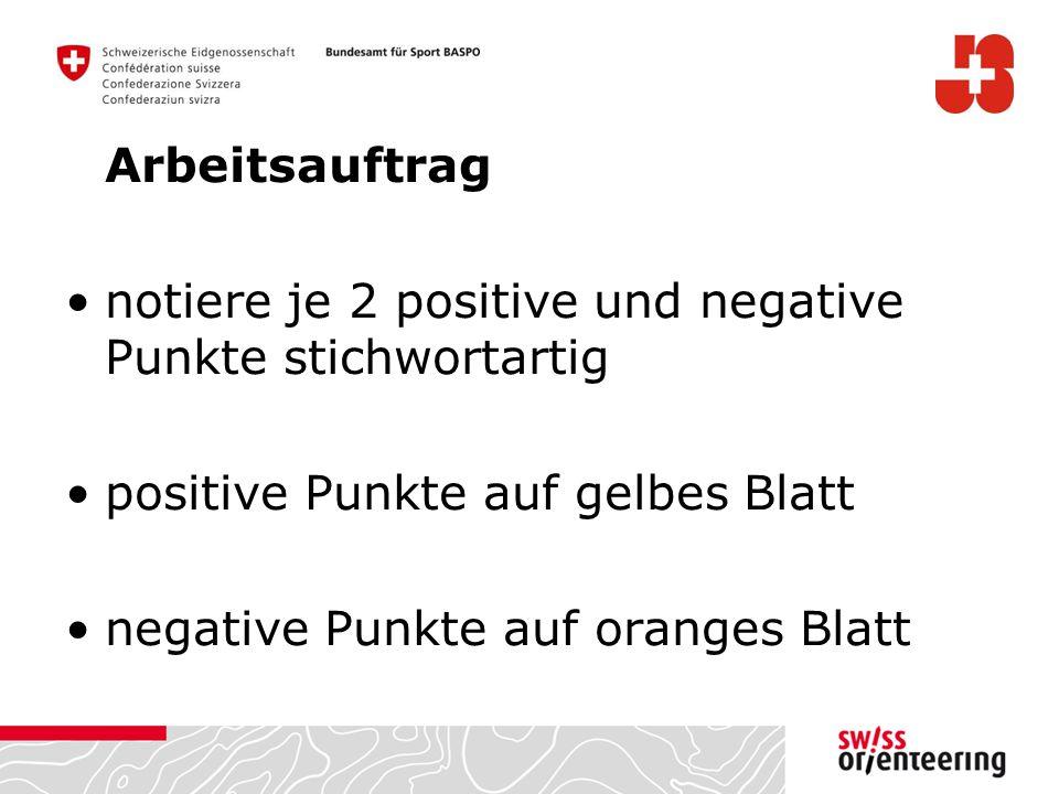 Arbeitsauftrag notiere je 2 positive und negative Punkte stichwortartig positive Punkte auf gelbes Blatt negative Punkte auf oranges Blatt