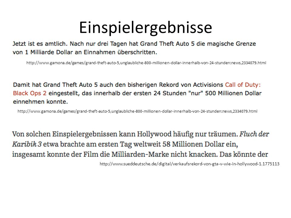 Einspielergebnisse http://www.gamona.de/games/grand-theft-auto-5,unglaubliche-800-millionen-dollar-innerhalb-von-24-stunden:news,2334079.html http://w