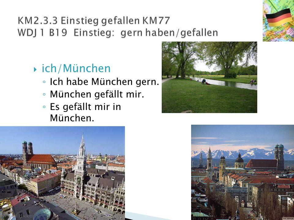  ich/München ◦ Ich habe München gern. ◦ München gefällt mir. ◦ Es gefällt mir in München.