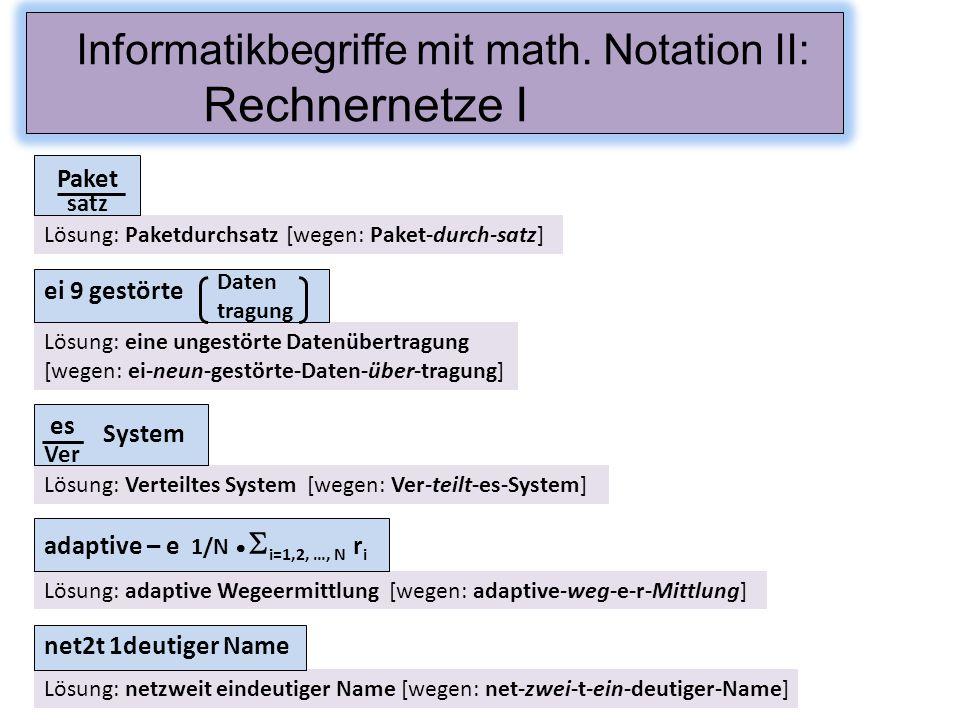 Informatikbegriffe mit math. Notation II: Rechnernetze I Lösung: netzweit eindeutiger Name [wegen: net-zwei-t-ein-deutiger-Name] net2t 1deutiger Name