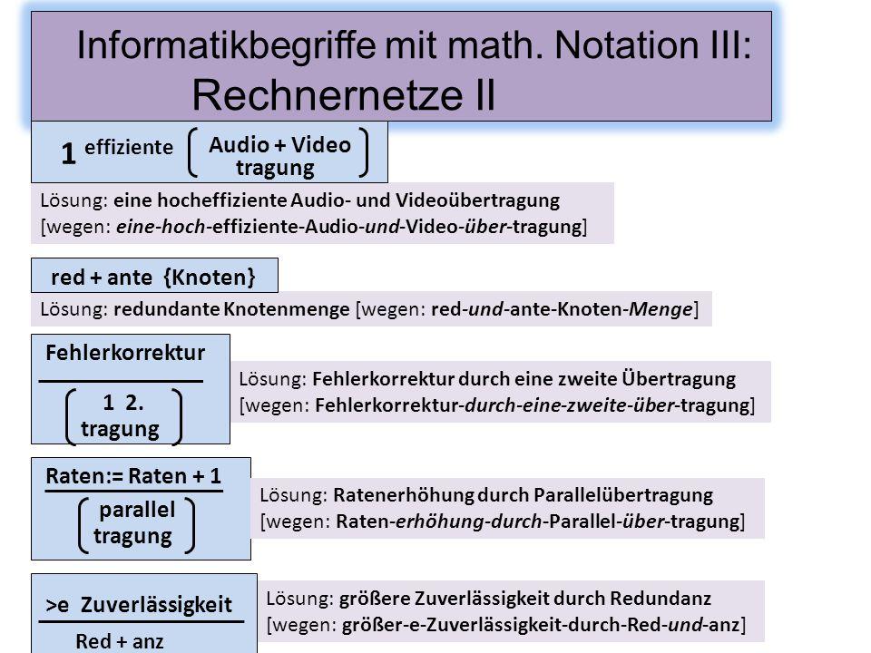 Lösung: eine hocheffiziente Audio- und Videoübertragung [wegen: eine-hoch-effiziente-Audio-und-Video-über-tragung] Informatikbegriffe mit math. Notati