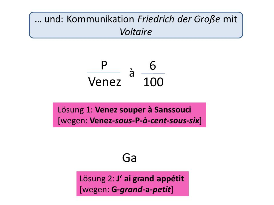 Lösung 2: J' ai grand appétit [wegen: G-grand-a-petit] … und: Kommunikation Friedrich der Große mit Voltaire P Venez 6 100 Ga Lösung 1: Venez souper à