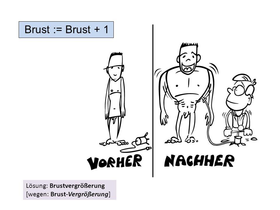 Brust := Brust + 1 Lösung: Brustvergrößerung [wegen: Brust-Vergrößerung]