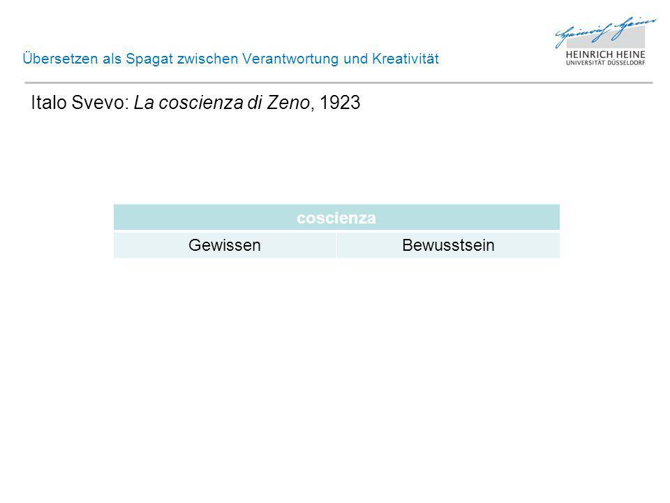 Übersetzen als Spagat zwischen Verantwortung und Kreativität Italo Svevo: La coscienza di Zeno, 1923 > Ü: Zeno Cosini.