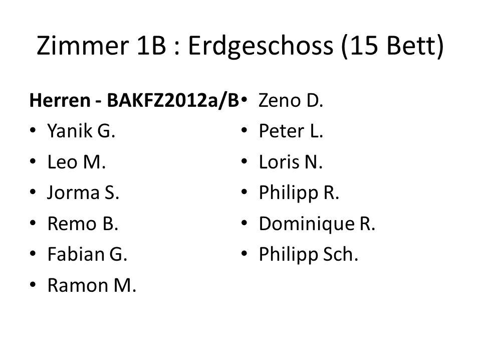 Zimmer 1B : Erdgeschoss (15 Bett) Herren - BAKFZ2012a/B Yanik G.