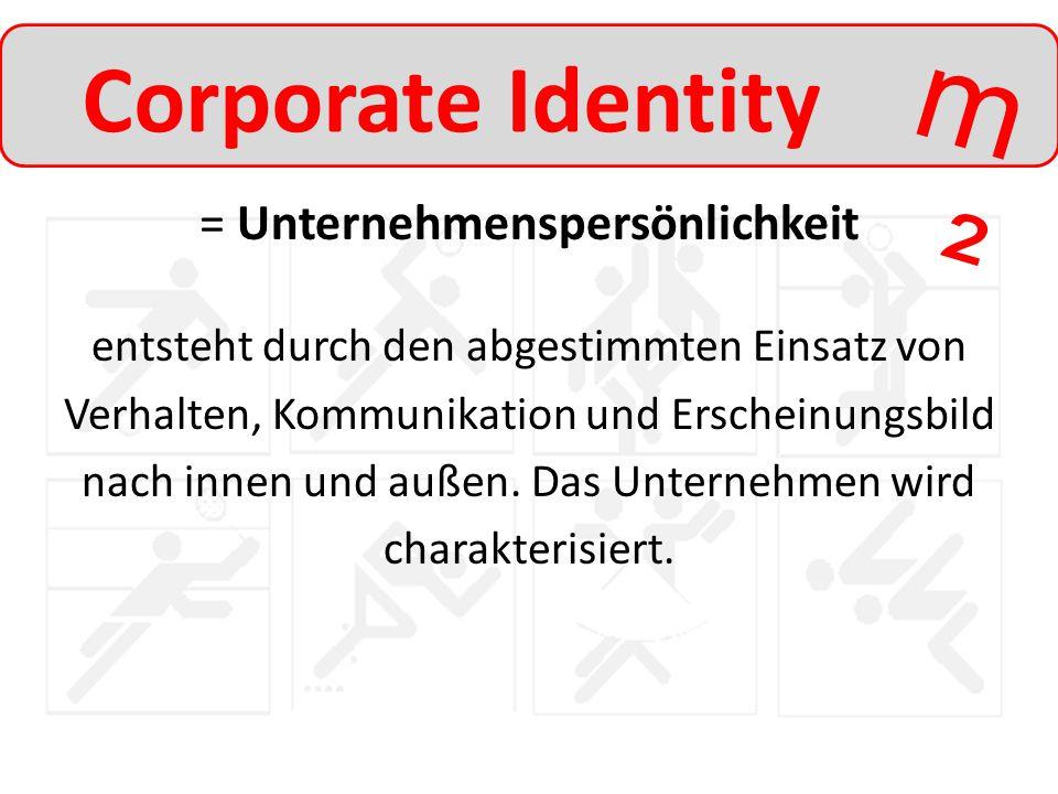 m²m² Corporate Identity = Unternehmenspersönlichkeit entsteht durch den abgestimmten Einsatz von Verhalten, Kommunikation und Erscheinungsbild nach in