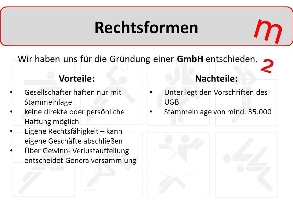 m²m² Rechtsformen Wir haben uns für die Gründung einer GmbH entschieden. Vorteile:Nachteile: Gesellschafter haften nur mit Stammeinlage keine direkte