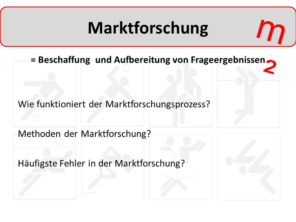 m²m² Marktforschung = Beschaffung und Aufbereitung von Frageergebnissen Wie funktioniert der Marktforschungsprozess? Methoden der Marktforschung? Häuf