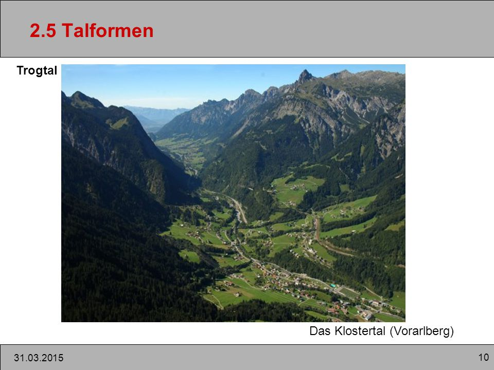 10 31.03.2015 2.5 Talformen Trogtal Das Klostertal (Vorarlberg)
