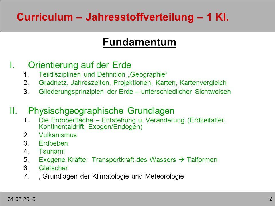 2 31.03.2015 Curriculum – Jahresstoffverteilung – 1 Kl.