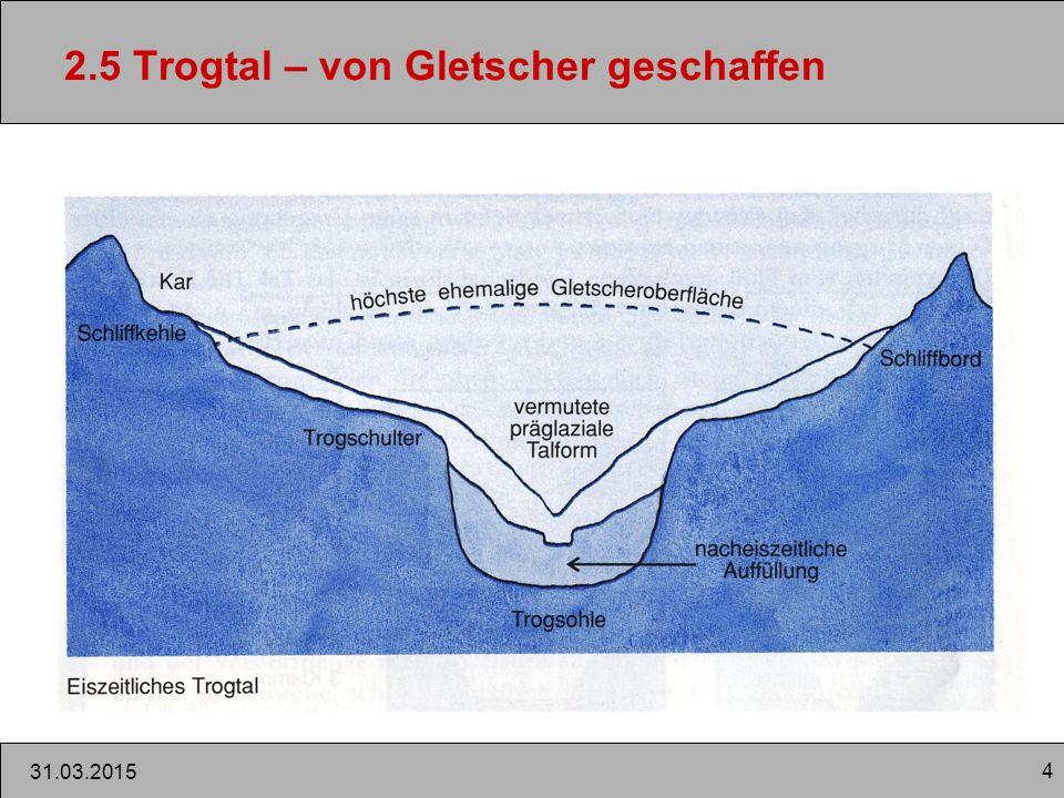 4 31.03.2015 2.5 Trogtal – von Gletscher geschaffen