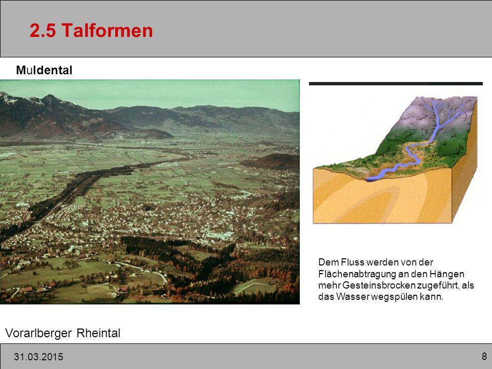 8 31.03.2015 2.5 Talformen Muldental Vorarlberger Rheintal Dem Fluss werden von der Flächenabtragung an den Hängen mehr Gesteinsbrocken zugeführt, als das Wasser wegspülen kann.