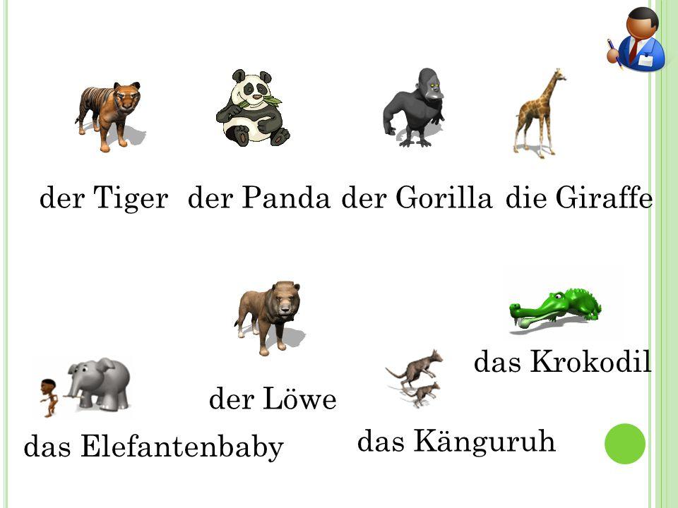 der Tigerder Pandader Gorilladie Giraffe der Löwe das Elefantenbaby das Känguruh das Krokodil