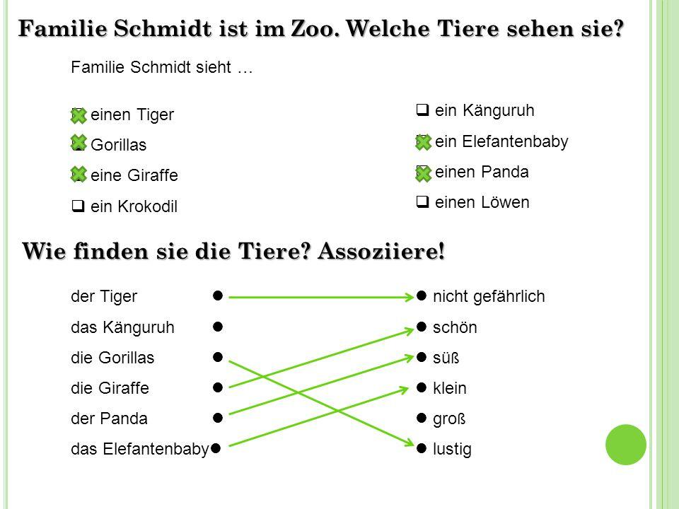 Familie Schmidt ist im Zoo. Welche Tiere sehen sie.
