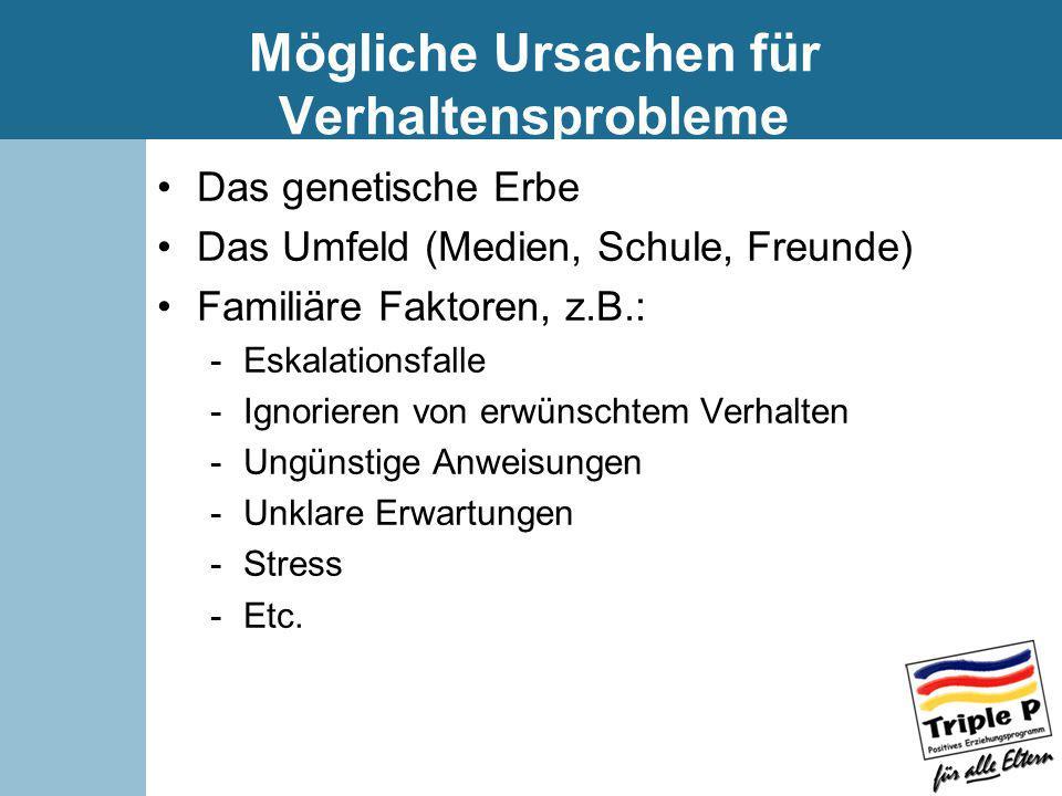 Mögliche Ursachen für Verhaltensprobleme Das genetische Erbe Das Umfeld (Medien, Schule, Freunde) Familiäre Faktoren, z.B.: -Eskalationsfalle -Ignorie