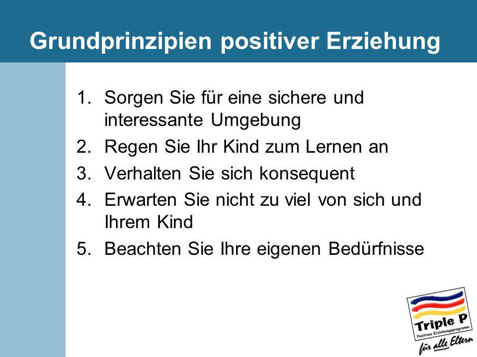 Grundprinzipien positiver Erziehung 1.Sorgen Sie für eine sichere und interessante Umgebung 2.Regen Sie Ihr Kind zum Lernen an 3.Verhalten Sie sich ko