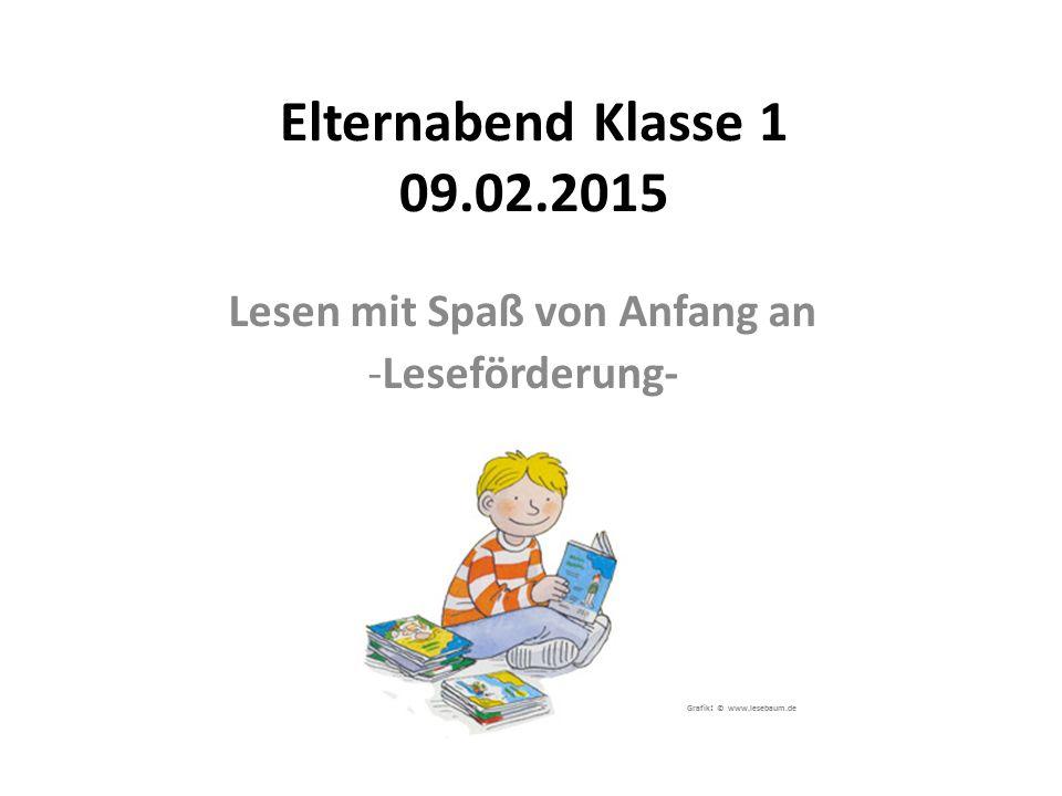 Elternabend Klasse 1 09.02.2015 Lesen mit Spaß von Anfang an -Leseförderung- Grafik : © www.lesebaum.de