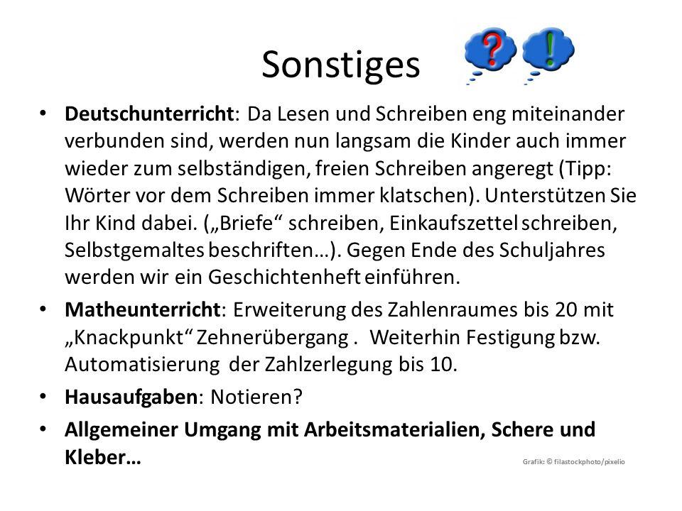 Sonstiges Deutschunterricht: Da Lesen und Schreiben eng miteinander verbunden sind, werden nun langsam die Kinder auch immer wieder zum selbständigen, freien Schreiben angeregt (Tipp: Wörter vor dem Schreiben immer klatschen).