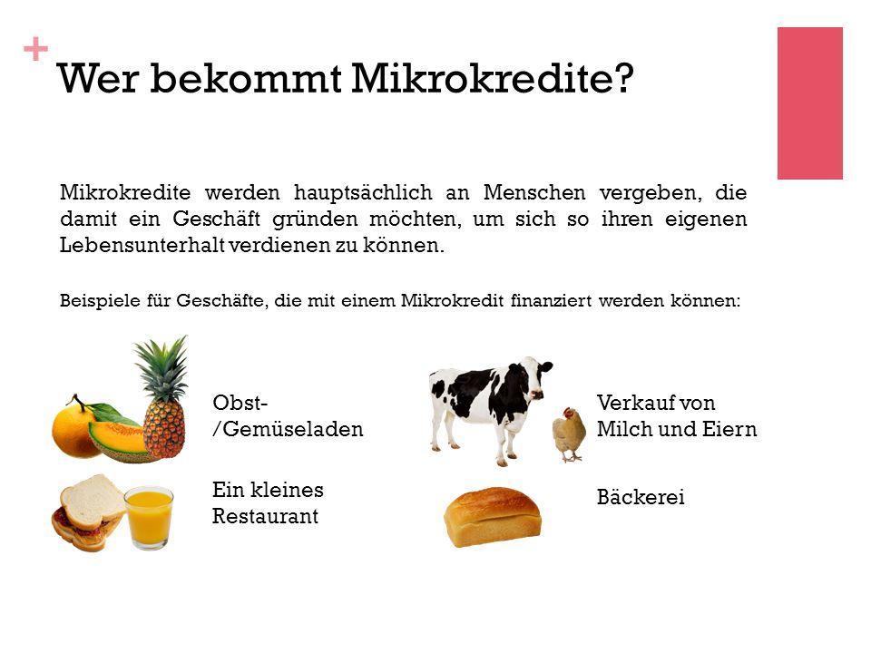 + Wer bekommt Mikrokredite.