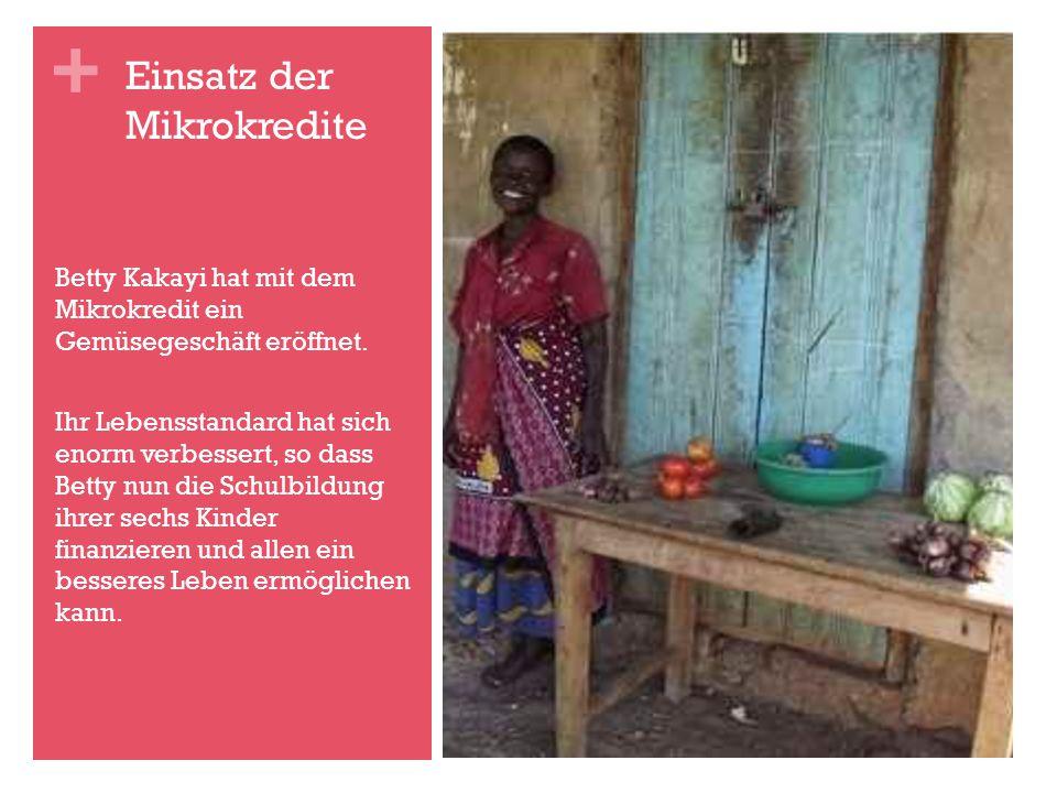 + Betty Kakayi hat mit dem Mikrokredit ein Gemüsegeschäft eröffnet.