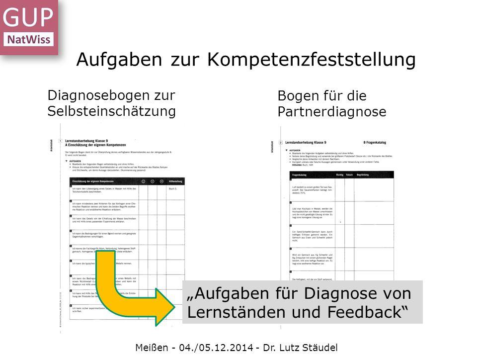 """Aufgaben zur Kompetenzfeststellung Diagnosebogen zur Selbsteinschätzung Bogen für die Partnerdiagnose Meißen - 04./05.12.2014 - Dr. Lutz Stäudel """"Aufg"""