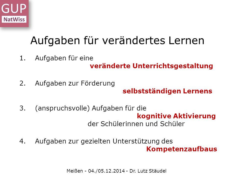 Aufgaben für verändertes Lernen Meißen - 04./05.12.2014 - Dr. Lutz Stäudel 1.Aufgaben für eine veränderte Unterrichtsgestaltung 2.Aufgaben zur Förderu