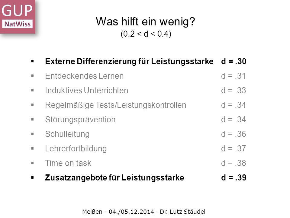  Externe Differenzierung für Leistungsstarked =.30  Entdeckendes Lernend =.31  Induktives Unterrichtend =.33  Regelmäßige Tests/Leistungskontrolle