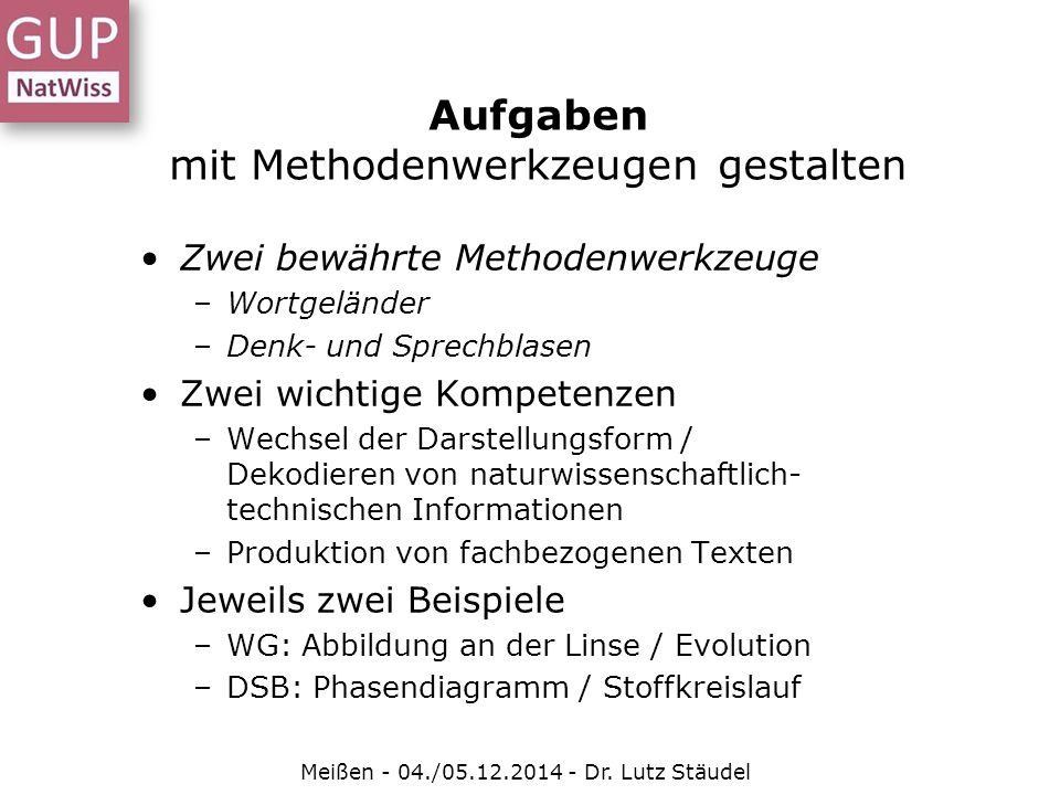 Aufgaben mit Methodenwerkzeugen gestalten Meißen - 04./05.12.2014 - Dr. Lutz Stäudel Zwei bewährte Methodenwerkzeuge –Wortgeländer –Denk- und Sprechbl