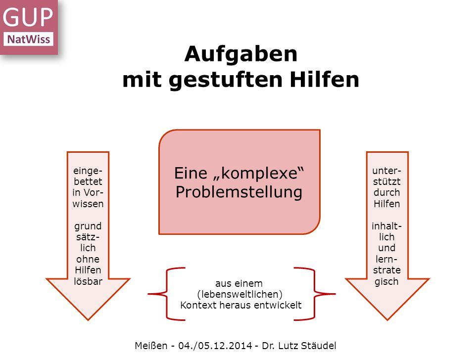 """Aufgaben mit gestuften Hilfen Meißen - 04./05.12.2014 - Dr. Lutz Stäudel Eine """"komplexe"""" Problemstellung aus einem (lebensweltlichen) Kontext heraus e"""