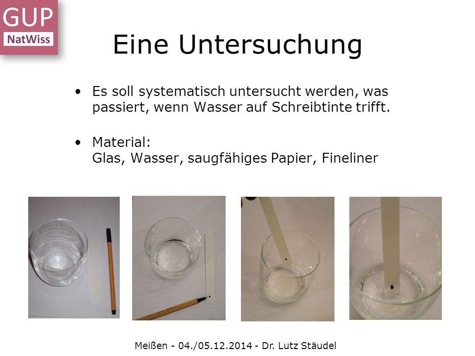 Eine Untersuchung Meißen - 04./05.12.2014 - Dr. Lutz Stäudel Es soll systematisch untersucht werden, was passiert, wenn Wasser auf Schreibtinte trifft