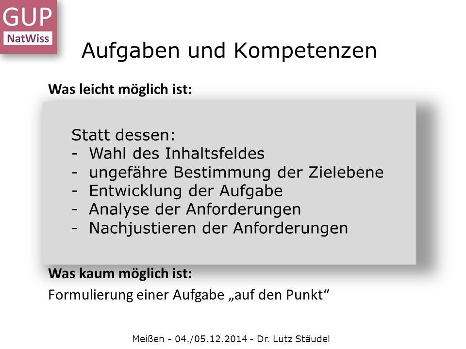 Aufgaben und Kompetenzen Meißen - 04./05.12.2014 - Dr. Lutz Stäudel Was leicht möglich ist: Zuschnitt einer Aufgabe auf einen Kompetenzaspekt, z.B.: -